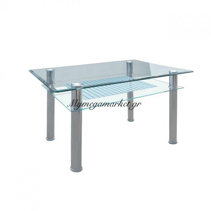 Veron Τραπέζι 90X60Cm Inox/γυαλί | Mymegamarket.gr