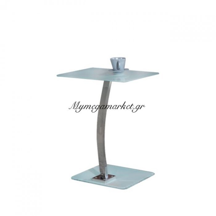 Solid Τραπ.laptop 48X32X58Cm Γυαλί Άσπρο/χρώμιο   Mymegamarket.gr