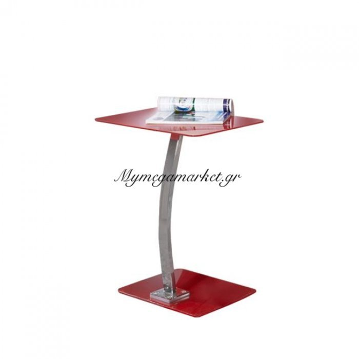Solid Τραπ.laptop 48X32X58Cm Γυαλί Κόκκινο/χρώμιο   Mymegamarket.gr