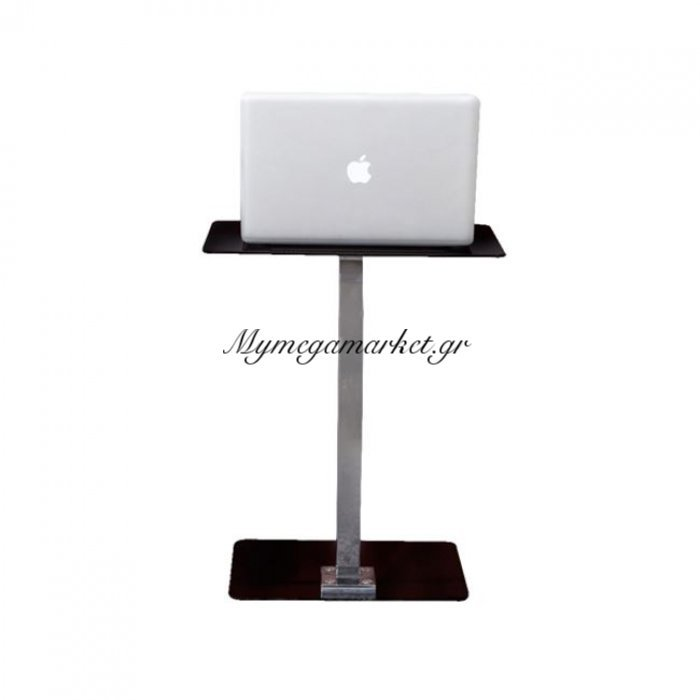 Solid Τραπ.laptop 48X32X58Cm Γυαλί Μαύρο/χρώμιο   Mymegamarket.gr