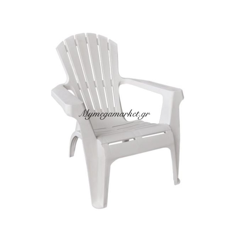 Dolomiti Πολυθρόνα πλαστική Στοιβαζόμενη Άσπρη Στην κατηγορία Πολυθρόνες κήπου | Mymegamarket.gr