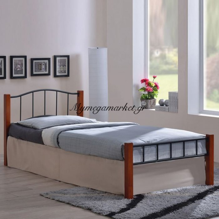 Paloma Κρεβάτι Μονό 100X200Cm Μεταλ.μαύρο/ξύλο Καρυδί | Mymegamarket.gr