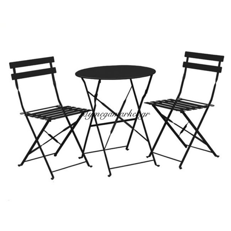 Capo Set (Τραπ.φ60Cm+2 Καρ) Μεταλ.μαύρο Στην κατηγορία Τραπεζαρίες κήπου με καρέκλες | Mymegamarket.gr