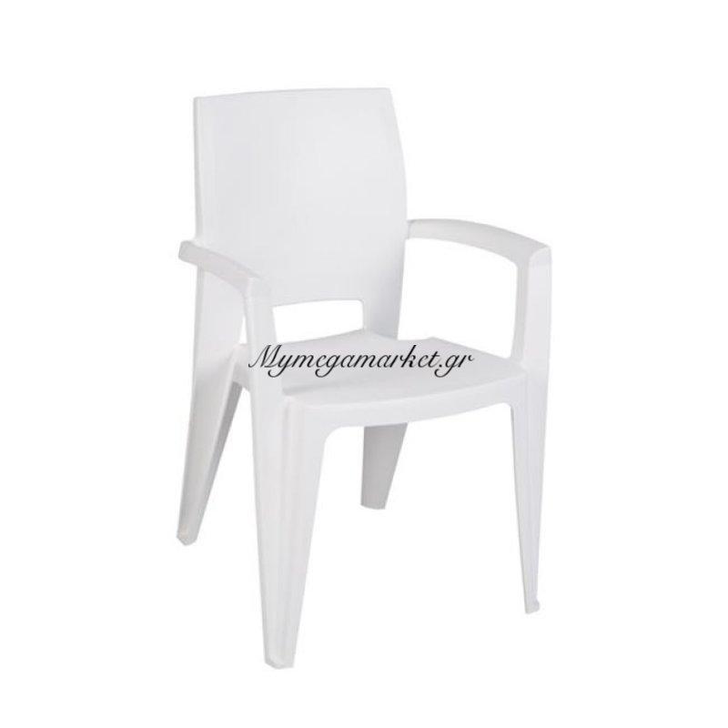 Amy Πολυθ.στοιβαζόμενη Pp Άσπρη Στην κατηγορία Πολυθρόνες κήπου | Mymegamarket.gr