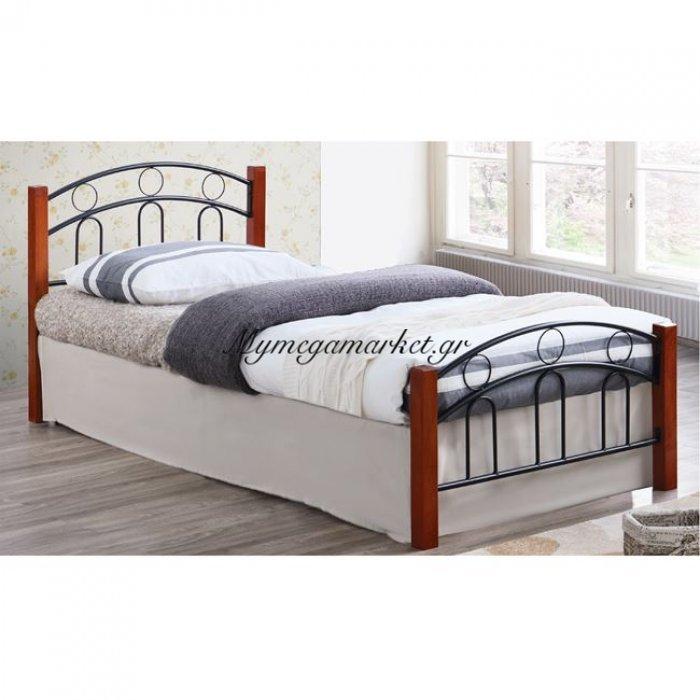 Norton Κρεβάτι Μονό 90X190Cm Μεταλ.μαύρο/ξύλο Καρυδί | Mymegamarket.gr