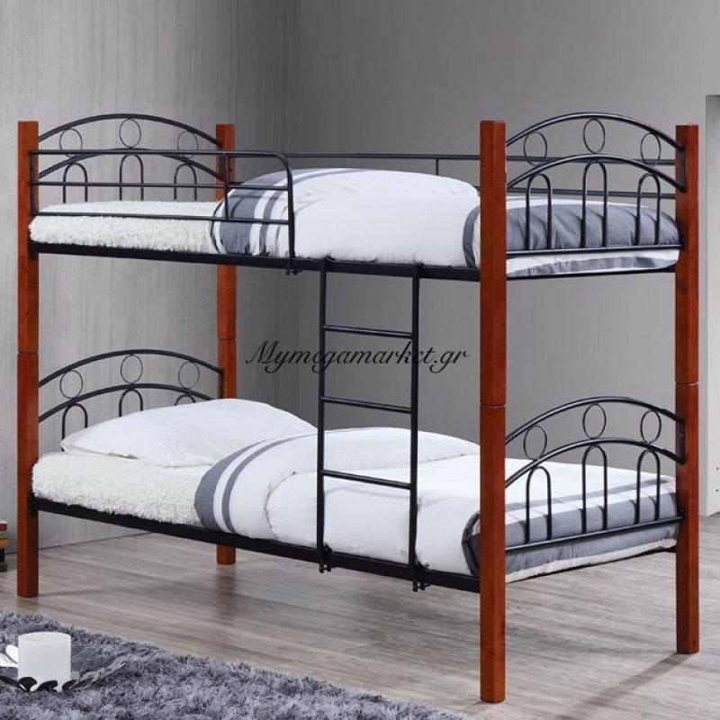 Norton Kρεβάτι/κουκέτα 90X190Cm Mεταλ.μαύρο/ξύλο Καρυδί