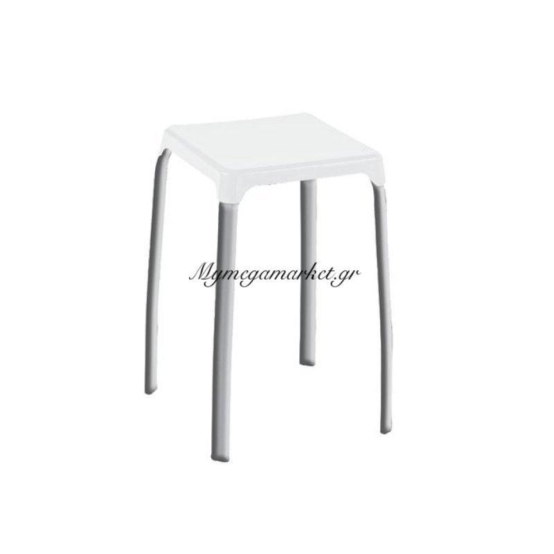 Arian Σκαμπώ Στοιβ/νο Πλαστικό Άσπρο (Βαφή Γκρι) Στην κατηγορία Σκαμπό Bar | Mymegamarket.gr
