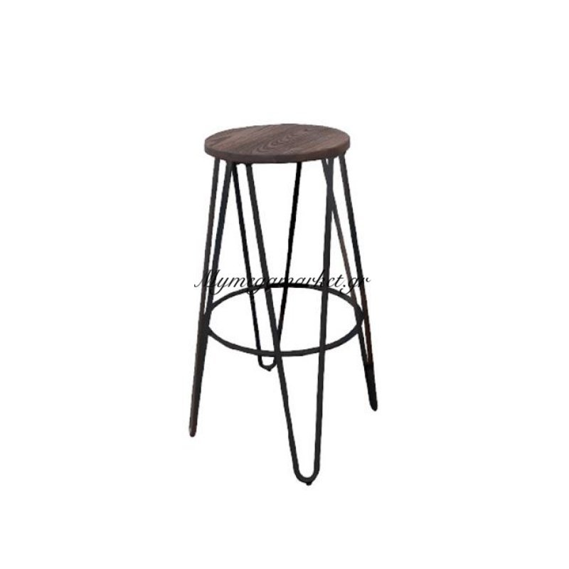 Arco Wood Dark Oak Σκαμπώ Bar Antique Black Στην κατηγορία Σκαμπό Bar | Mymegamarket.gr