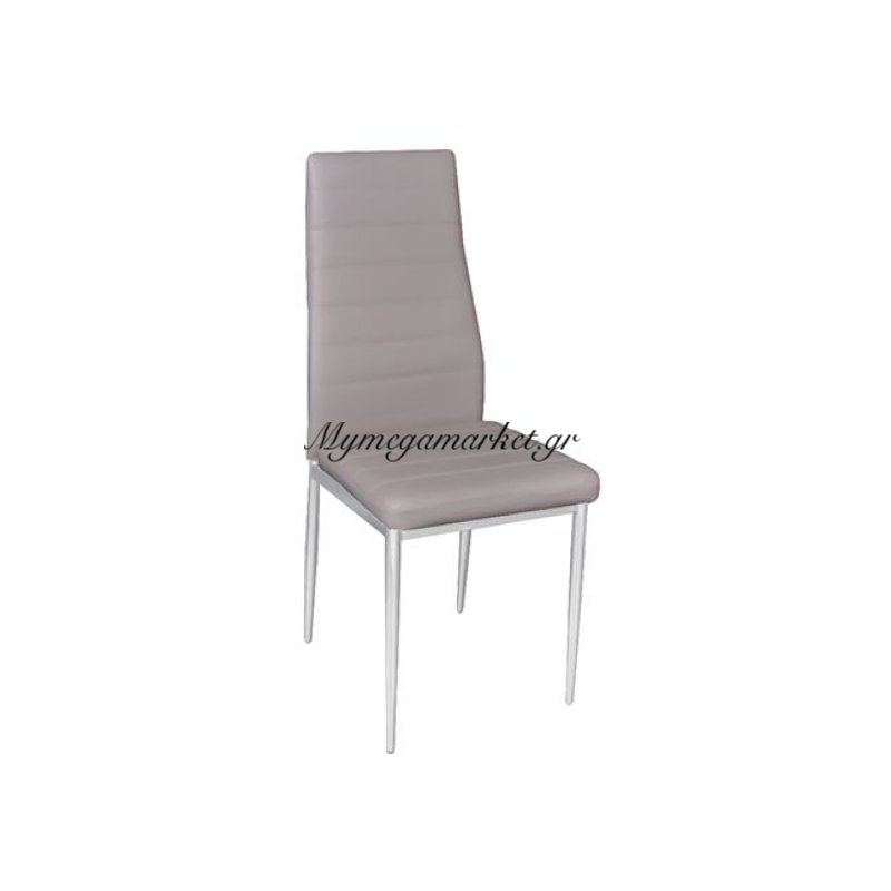 Jetta Καρέκλα Χρώμιο/pvc Cappuccino (Συσκ.6) Στην κατηγορία Καρέκλες εσωτερικού χώρου   Mymegamarket.gr