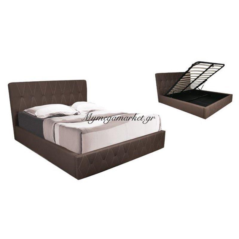 Baco Κρεβάτι 160X200Cm Ύφ.nabuk Καφέ/αποθ.χώρο Στην κατηγορία Κρεβάτια ξύλινα - Μεταλλικά | Mymegamarket.gr