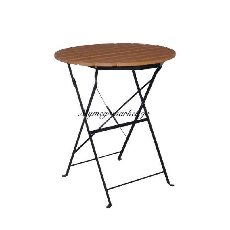 Capo Τραπέζι πτυσσόμενο Φ60Cm Μεταλλικό μαύρο/polywood Φυσικό Στην κατηγορία Τραπέζια κήπου | Mymegamarket.gr