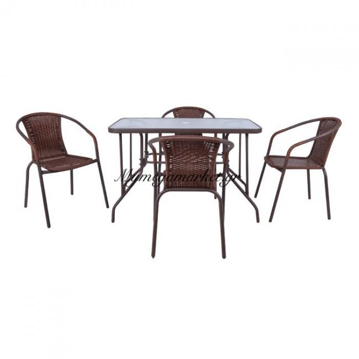 Baleno Set (Τραπ.110X60Cm+4 Πολ) Μεταλ.καφέ/brown Wicker | Mymegamarket.gr