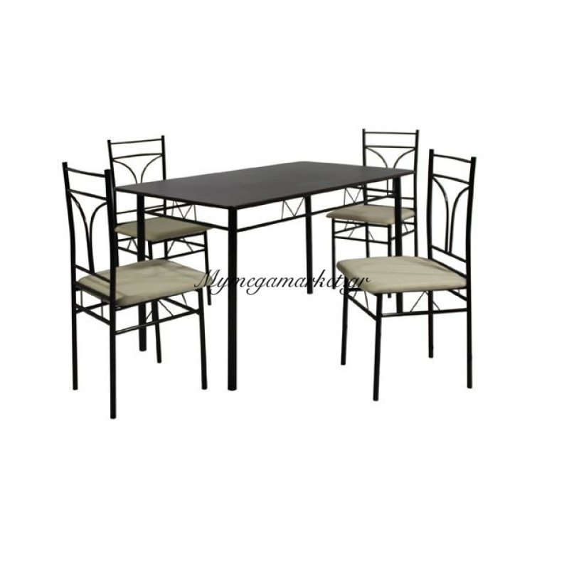 Corado Set (Τραπ.120X70Cm+4 Καρέκ) Μεταλ.μαύρο/mdf Wenge (Ύφ.εκρού) Στην κατηγορία Τραπέζια Κουζίνας - Τραπεζαρίες με καρέκλες | Mymegamarket.gr