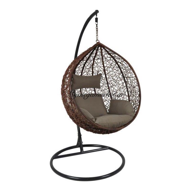 Isabel Κρεμαστή Πολυθ.steel Dark Grey/wicker Brown/μαξ.καφέ Στην κατηγορία Κούνιες - Ομπρέλες κήπου | Mymegamarket.gr