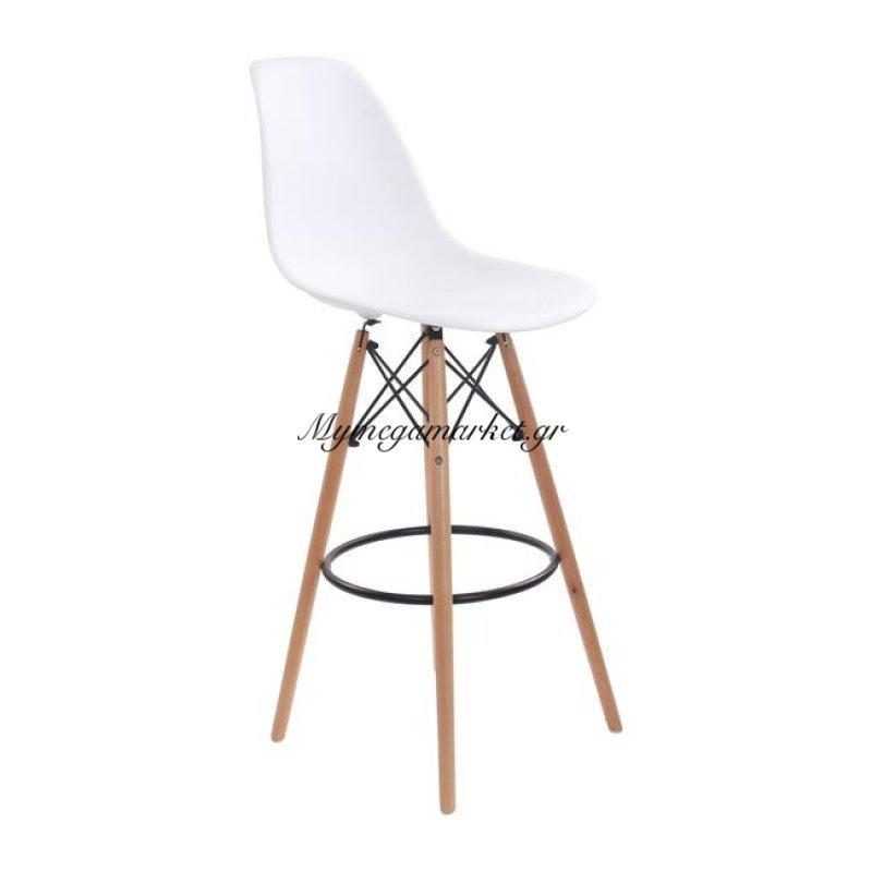 Art Wood Σκαμπώ Bar Pp Λευκό (Με Πλάτη) Στην κατηγορία Καρέκλες εσωτερικού χώρου | Mymegamarket.gr
