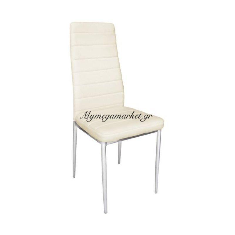 Jetta Καρέκλα Χρώμιο/pvc Εκρού (Συσκ.4) Στην κατηγορία Καρέκλες εσωτερικού χώρου   Mymegamarket.gr