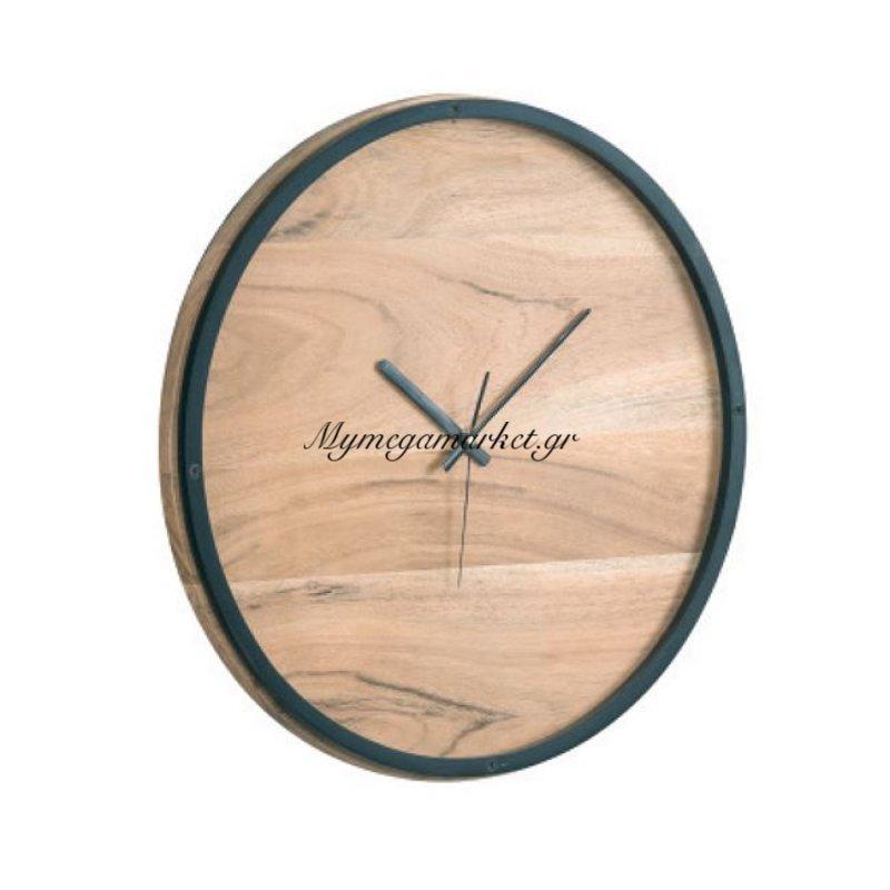 Clock-3 Ρολόι Τοίχου Φ40X4Cm Ακακία Φυσικό/μεταλ.μαύρο