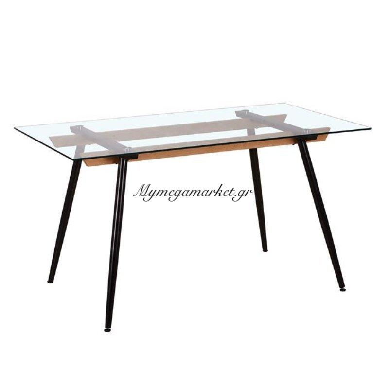 Carter Τραπέζι 140X80Cm Βαφή Μαύρη/γυαλί Στην κατηγορία Τραπέζια - Τραπεζαρίες | Mymegamarket.gr