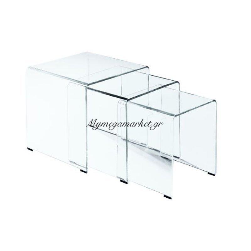 Glasser Clear Set-3 Τραπεζάκια Γυαλί 10Mm 42X42X42Cm Στην κατηγορία Βοηθητικά τραπεζάκια σαλονιού | Mymegamarket.gr