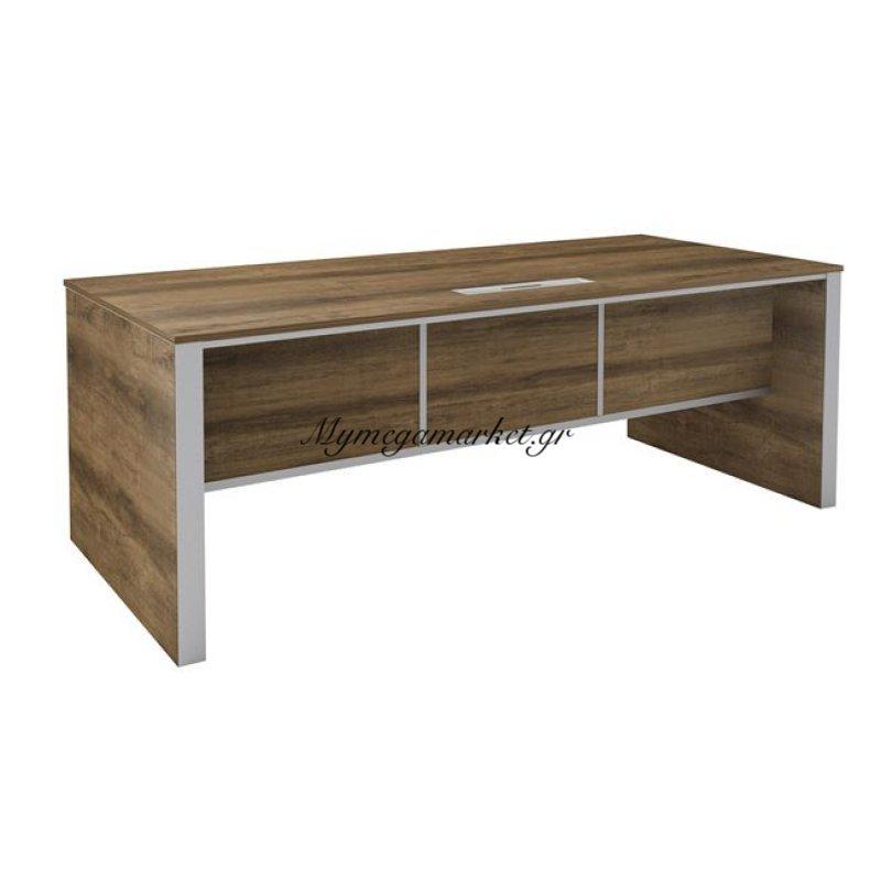 Alpine Inox Γραφείο 200X90Cm Brown Oak Στην κατηγορία Γραφεία | Mymegamarket.gr