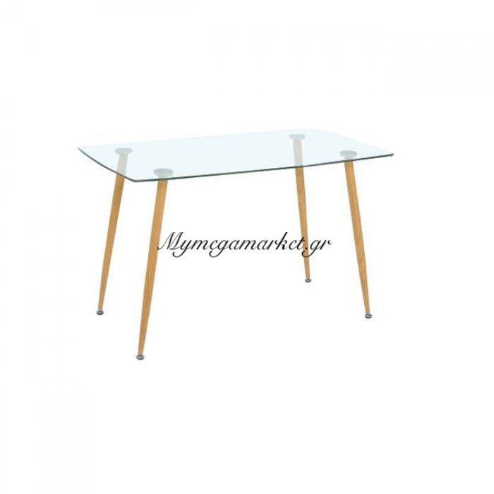 Roby Τραπέζι 120X70Cm Μεταλ.βαφή Φυσικό/γυαλί | Mymegamarket.gr