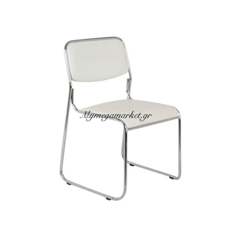 Campus Καρέκλα Χρώμιο/soft Pu Εκρού Στην κατηγορία Καρέκλες συνεργασίας - Εργασίας | Mymegamarket.gr