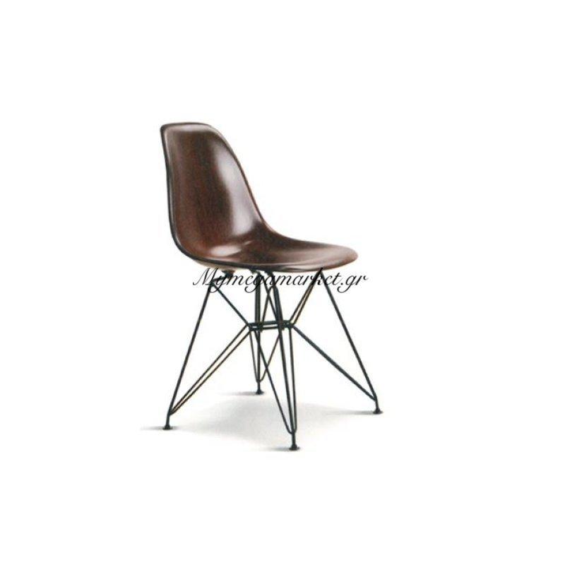 Art Καρέκλα Μεταλ.μαύρη/abs Καρυδί Στην κατηγορία Καρέκλες εσωτερικού χώρου | Mymegamarket.gr