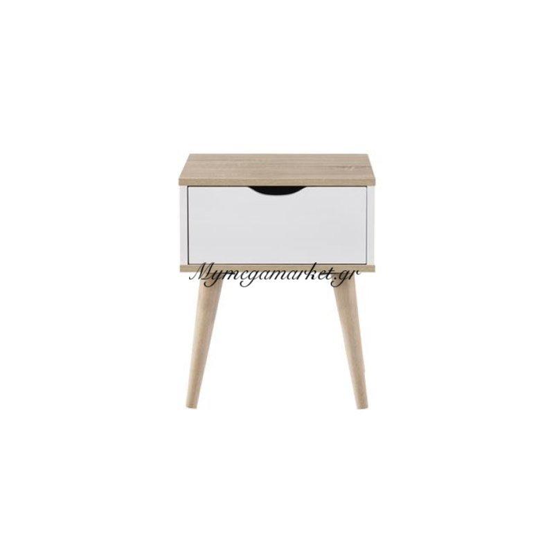 Alida Κομοδίνο 40X36X50 Sonoma/άσπρο Στην κατηγορία Κομοδίνα - Συρταριέρες | Mymegamarket.gr