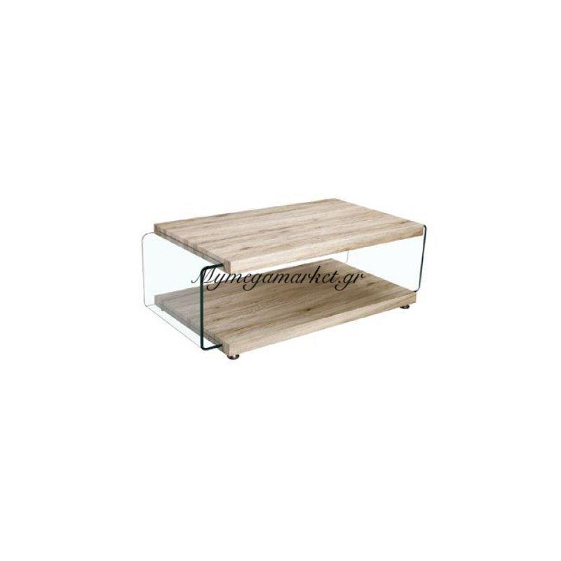 Glasser Wood Τραπ.σαλονιού 120X60X39Cm Clear/ράφι Απόχρ.σημύδας Στην κατηγορία Τραπέζια σαλονιού | Mymegamarket.gr