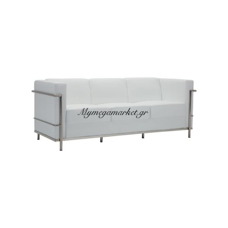 Genova Καναπές 3-Θέσιος Inox/pu Άσπρο Στην κατηγορία Καναπέδες - Κρεβάτια | Mymegamarket.gr