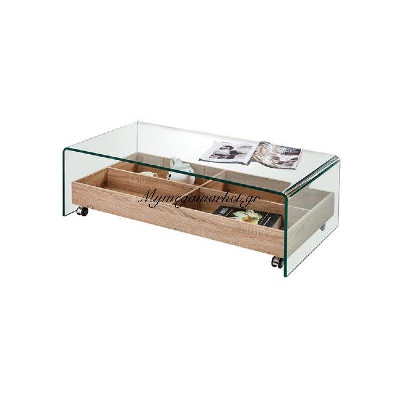 Glasser Wood Τραπ.σαλονιού Με Tray 110X55X35Cm Γυαλί 12Mm Clear/sonoma Στην κατηγορία Τραπέζια σαλονιού | Mymegamarket.gr