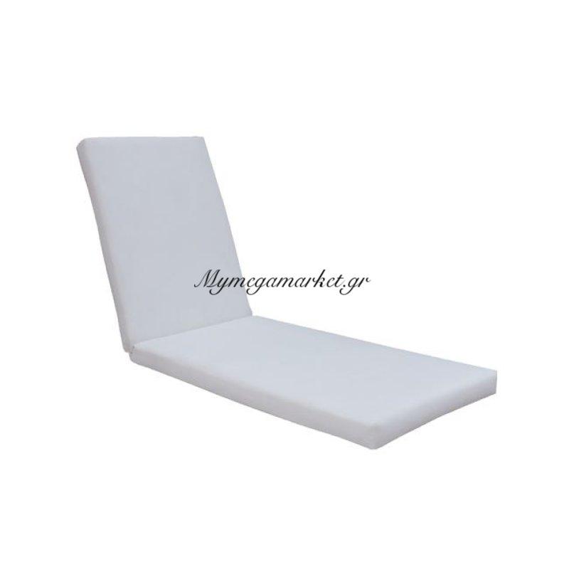Sunlounger Μαξιλάρι ξαπλώστρας λευκή Δερματίνη 196(78+118)X60/7Cm Velcro