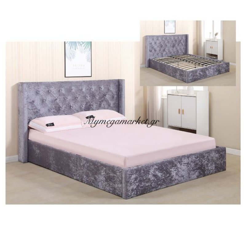 Barkley Κρεβάτι 160X200Cm Ύφασμα Velure Grey Στην κατηγορία Κρεβάτια ξύλινα - Μεταλλικά | Mymegamarket.gr