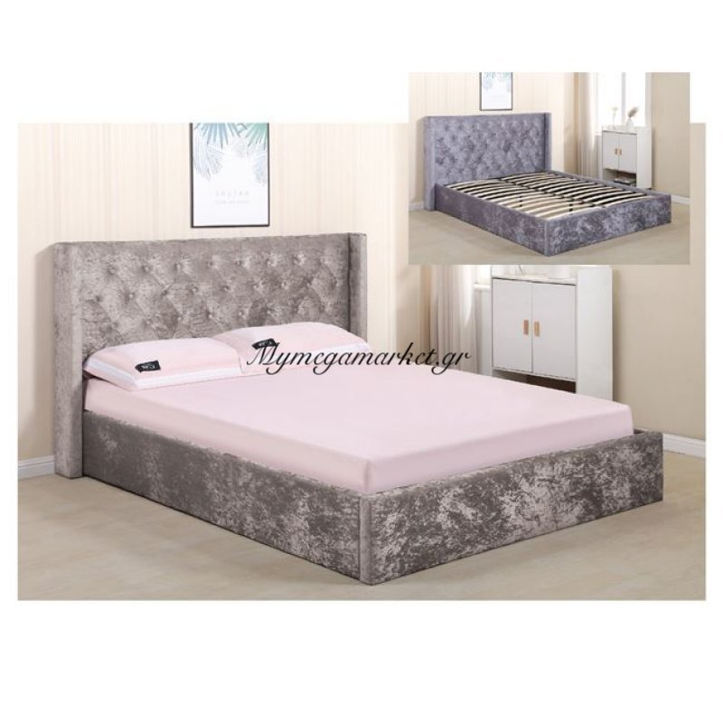 Barkley Κρεβάτι 160X200Cm Ύφασμα Velure Light Brown Στην κατηγορία Κρεβάτια ξύλινα - Μεταλλικά | Mymegamarket.gr