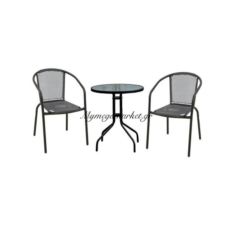 Baleno Set (Τραπ.φ60Cm+2 Πολ) Μεταλ.μαύρο/textilene Γκρι Στην κατηγορία Τραπεζαρίες κήπου με καρέκλες | Mymegamarket.gr