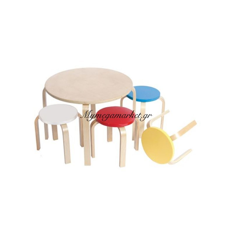 Kid-Fun Παιδικό Set (Τραπέζι+4 Σκαμπώ) Σημύδα/πολύχρωμο