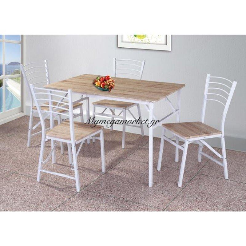 Bennet Set Πτυσ/νο (Τρ.110X70Cm+4 Καρ) Μετ.άσπρο/sonoma Στην κατηγορία Τραπέζια Κουζίνας - Τραπεζαρίες με καρέκλες | Mymegamarket.gr