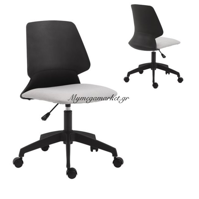 Bf2200 Καρέκλα Pp Μαύρo/ύφασμα Ανοικτό Γκρι Στην κατηγορία Καρέκλες - Πολυθρόνες γραφείου | Mymegamarket.gr
