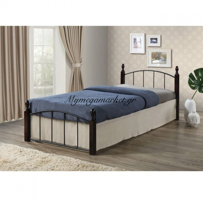 Aragon Κρεβάτι Μονό 90X190Cm Μεταλ.μαύρο/ξύλο Καρυδί | Mymegamarket.gr