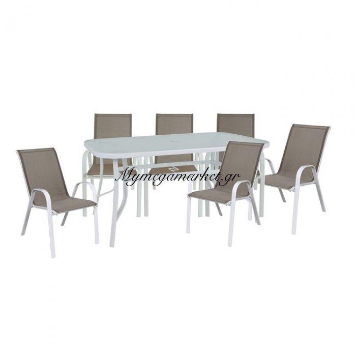 Rio Set(Τραπ.150X90Cm+6 Πολ)Μεταλ.λευκό/textilene Cappuccino/γυαλί Pear Clear | Mymegamarket.gr