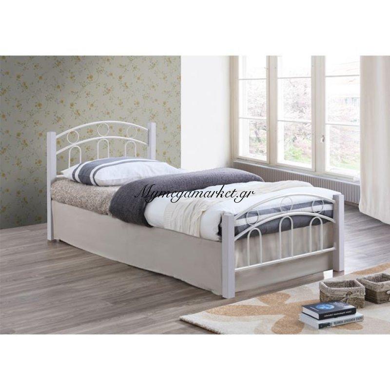 Norton Κρεβάτι 140X190Cm Μεταλ.άσπρο/ξύλο Άσπρο