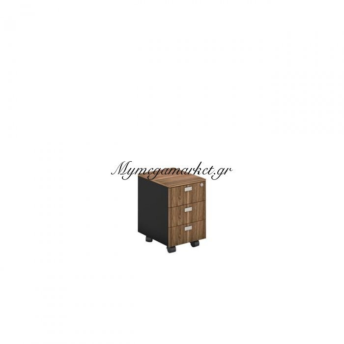 Proline Συρταριέρα 3-Συρτ.41X45X59Cm Σκ.καρυδί/μαύρο | Mymegamarket.gr