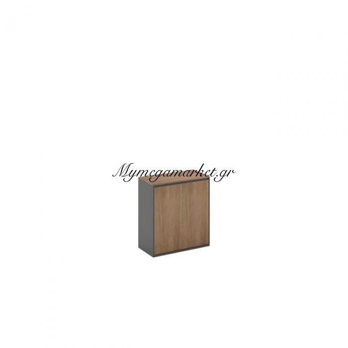 Proline Ντουλάπι Χαμηλό 80X40X75Cm Σκ.καρυδί/μαύρο | Mymegamarket.gr