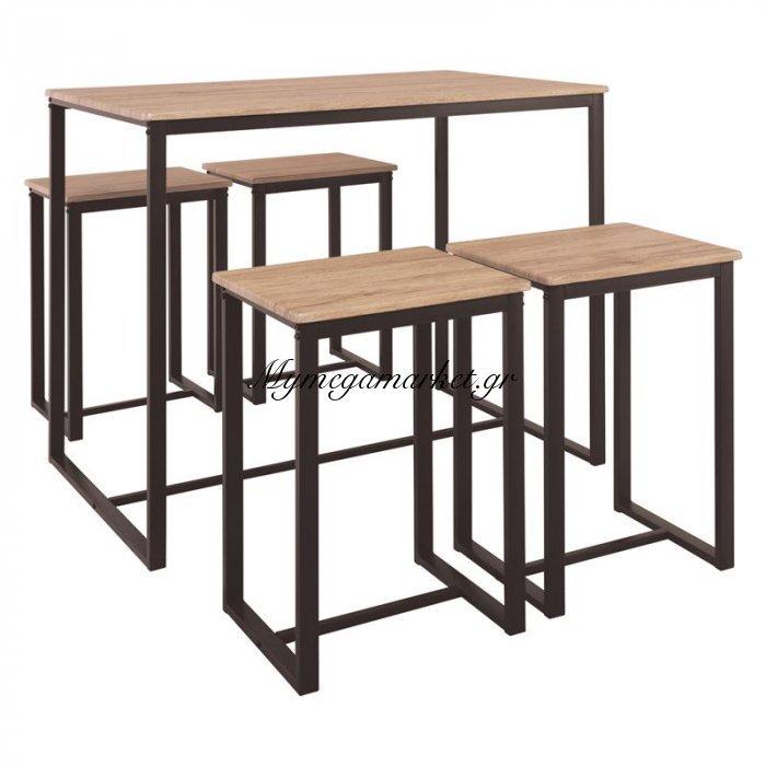 Henry Set Bar (Τραπ.100X60Cm+4 Σκαμπώ) Μεταλ.σκ.καφέ/sonoma   Mymegamarket.gr
