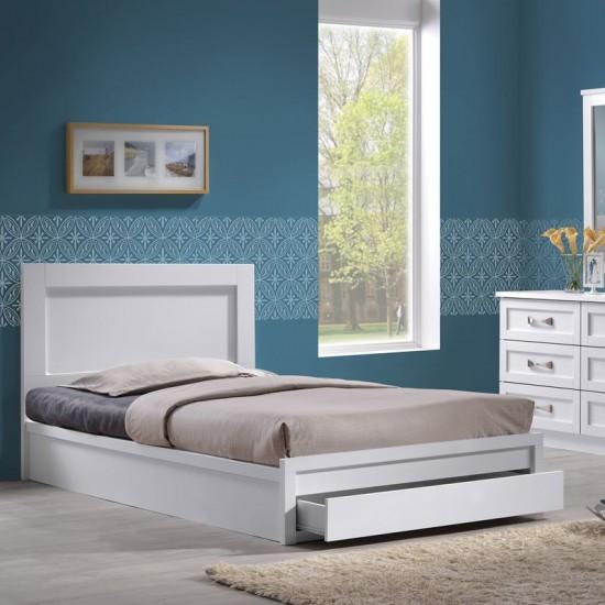 Life Κρεβάτι Μονό Με Συρτάρι, Για Στρώμα 90X190Cm, Απόχρωση Άσπρο 99x196x93cm