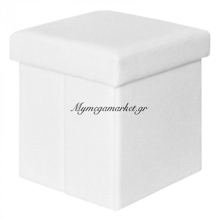 Orion Αποθ/κό Σκαμπώ Pu Άσπρο 38X38X38Cm | Mymegamarket.gr