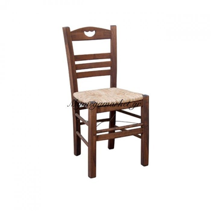 Πάρος-3 Καρέκλα Ψάθα Εμποτ.καρυδί | Mymegamarket.gr