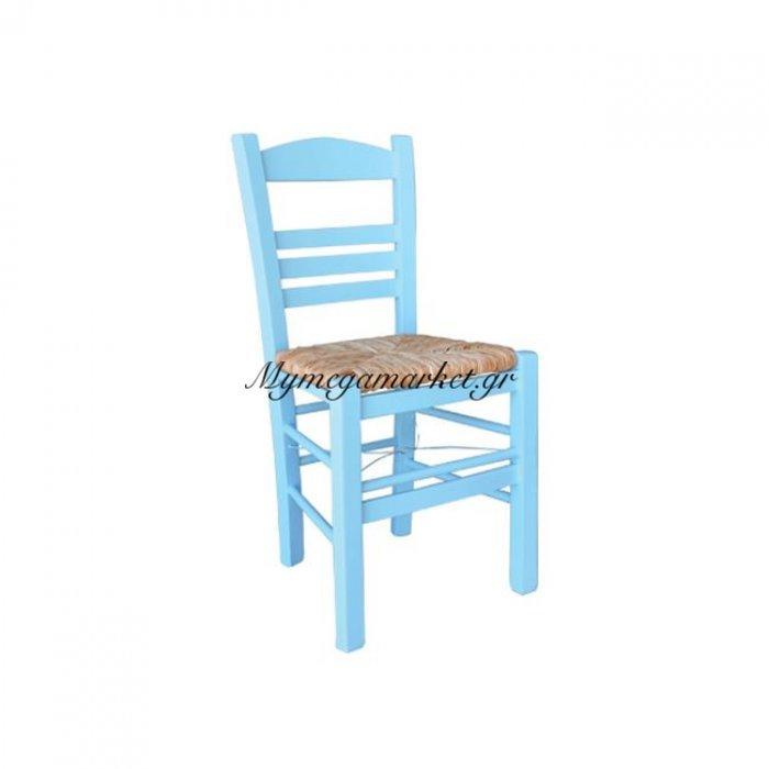 Σίφνος Καρέκλα Ψάθα Εμποτ.λάκα Γαλάζιο | Mymegamarket.gr