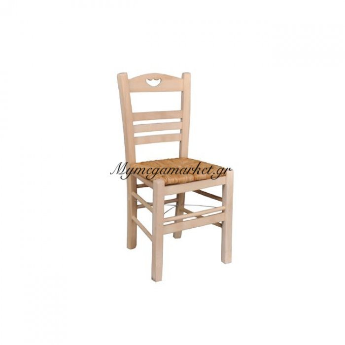 Πάρος-3 Καρέκλα Άβαφη Με Ψάθα Αβίδωτη | Mymegamarket.gr