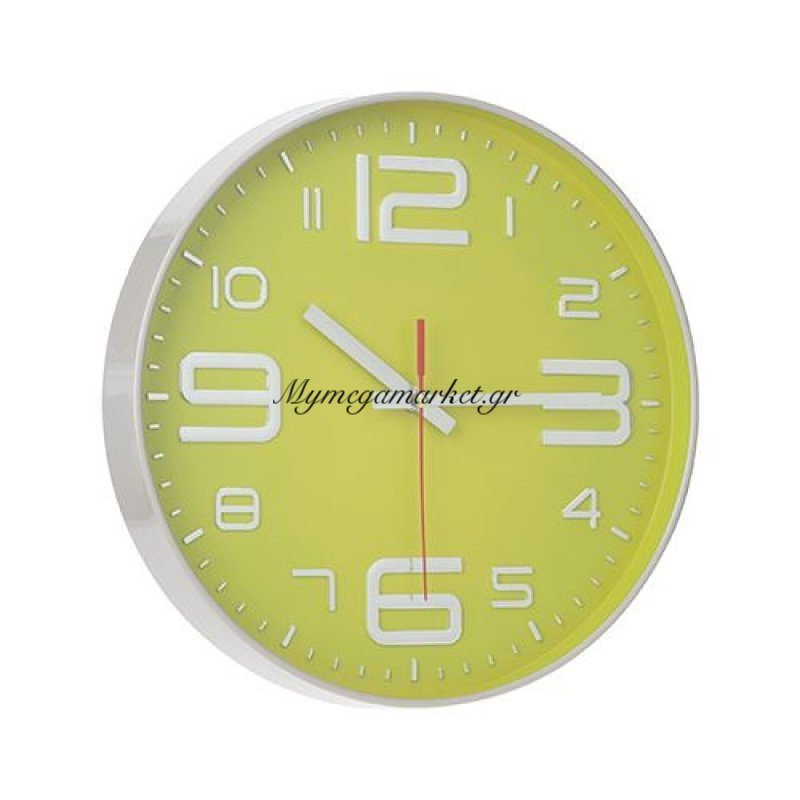 Ρολόι τοίχου πλαστικό γκρί - Λαχανί με τζάμι- Nava